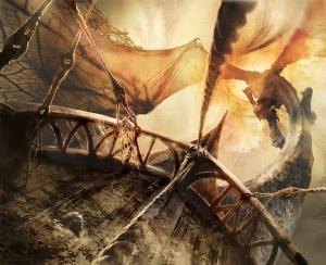 Pohled z přídě Silandy na nemrtvého draka, těsně před vstupem do chodby Telas